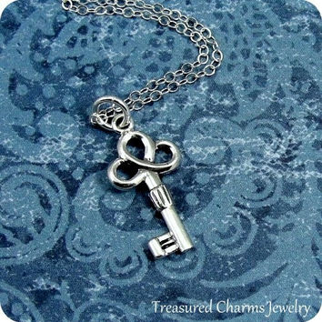 Tiny Lucky Key Necklace, Sterling Silver Clover Key Charm on a Silver Cable Chain