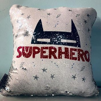SUPERHERO Mermaid Pillow w/ Silver & White Sequins (2019 edition)
