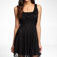 RUCHED LACE SWING DRESS