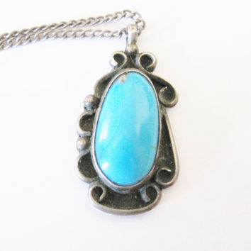 Navajo Sleeping Beauty Turquoise Pendant Vintage Sterling