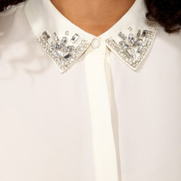 Rhinestoned Collar Shirt