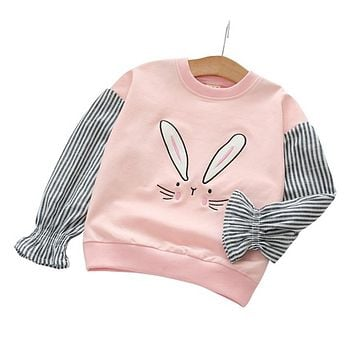 Girls Clothing New Fashion Rabbit Pattern Design Autumn and Spring Kids T-shirt Children's clothes