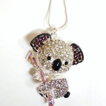 """Large Adorable Koala Bear 3D Pendant and Necklace 2.5 """" Clear Purple Crystals Gift Boxed Fashion Jewelry"""