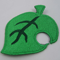 New Leaf Iron on or Sew on Machine embroidered patch