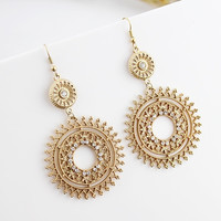 Elegant bijoux 2014 fashionable gold filled alloy hollow out antique imitation crystal dangle earrings = 1958494532