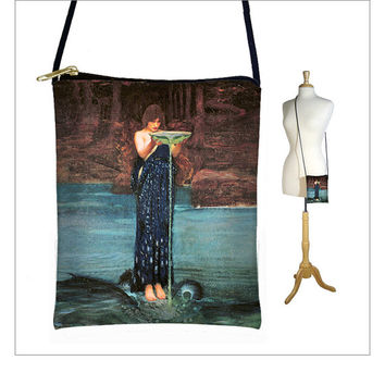 NEW Small Cross Body Purse Circe Invidiosa by Waterhouse Hipster Shoulder Bag, Mini Crossbody Bag, Smartphone Case fits iPhone 6 Plus (MTO)