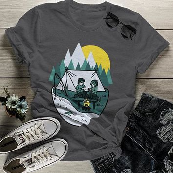 Women's Hipster Camping T Shirt Camp Love Graphic Tee Hand Drawn Tent Tshirt Coffee