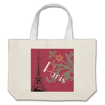 Pink And White Paris Graphic Shopping Or Beach Bag