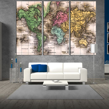 vintage world map wall art canvas, Large wall Art, 1835 Antique World Map, extra large wall art, map of the world canvas art wall decor t285