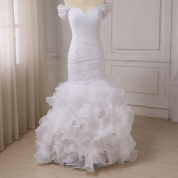 Mermaid Wedding Dresses Pearls Applique Off the Shoulder Ruffled Organza Bridal Gowns with Pleats