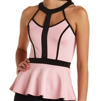 STRAPPY COLOR BLOCK PEPLUM TOP