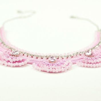 Pink Statement Necklace - Crochet Lace - Czech Crystal - Swarovski Elements - Rhinestone Statement Necklace - Fiber Art Jewelry