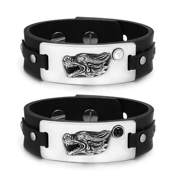 Courage Dragon Protection Amulets Couples White Simulated Cats Eye Simulated Onyx Leather Bracelets
