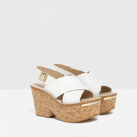 CROSSOVER LEATHER WEDGES - View all-SHOES-WOMAN | ZARA United Kingdom
