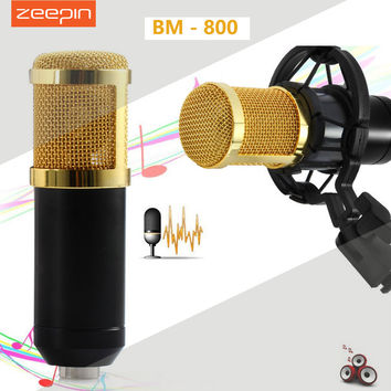 ZEEPIN BM 800 Dynamic Condenser Wired Recording Microphone Sound Studio with Shock Mount for Recording Kit KTV Karaoke