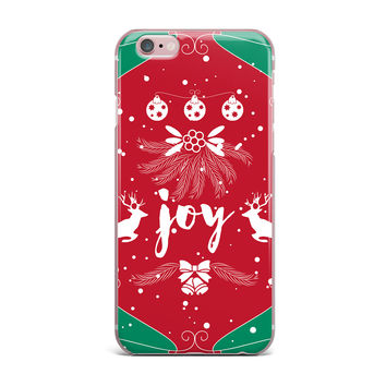 "Famenxt ""Christmas Joy"" Red Green Digital iPhone Case"