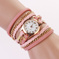 Leather Wrap Bracelet Watch - Pink