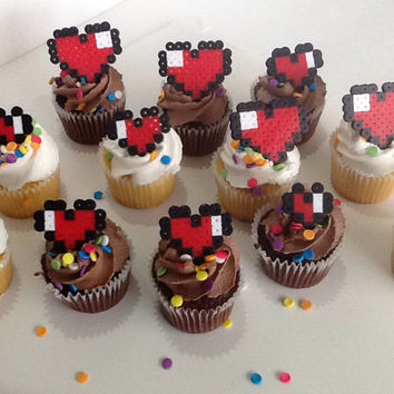 Pixel Heart Cupcake Toppers