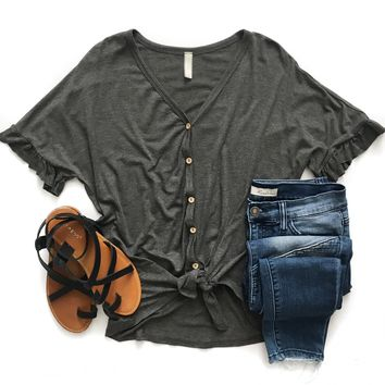 Charcoal Button Down Tie Top