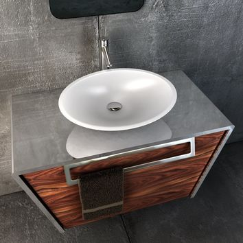"Quatordici 39-3/8"" Wall Bathroom Vanity 1 DRW and 1 Hidden DRW, Steel and Solid Wood - CASCARA Vessel Sink"
