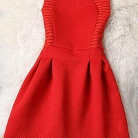 Hollow Out Sleeveless Round Neck A Line Dress - Red