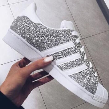 """Adidas"" Fashion Shell-toe Flats Sneakers Sport Shoes Silver"