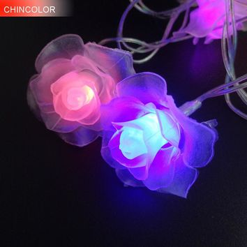 LED String Lighting nightlight Garland 3-4M 20Leds Rose Flower AC / AA Power Valentine's Day Party Wedding Christmas Fairy L