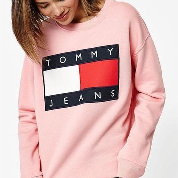 Tommy Hilfiger 90s Women Men Letter Print Long Sleeve Pullover Sweatshirt Pink I