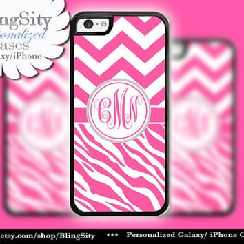 Chevron Zebra iPhone 5C case, iPhone 5 Case, iPhone 4 Ipod 4 5 Monogrammed Case Hot Pink Chevrons Zebra Pattern Personalized Gift