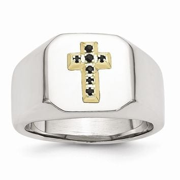 Men's Stainless Steel 14k with Sapphires Cross Ring