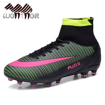 LUONTNOR Professional Mens Football Boots High Ankle Cleats Soccer Shoes Training Football Ankle Boots Long Spikes Big Size 46