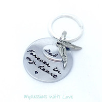 Forever in my heart - memorial keyring - hand stamped keychain - sympathy gift - rememberance keychain - in memory of RIP