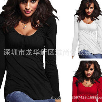 Sexy Long Sleeve Round Necked Erotic Top T-Shirt _ 10633