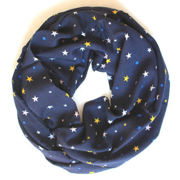 star navy scarf,infinity scarf, scarf, scarves, long scarf, loop scarf, gift