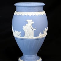 "Vintage Wedgwood Jasperware Harvest Motif  ""Bountiful"" Vase Cream On Blue Rare"