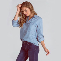 Denim on Denim Blues Chambray button up