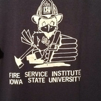 "Vintage collectible souvenir blue Iowa State University's Fire Service Institute and ""I survived '93 The Pits."