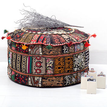 Bohemian Patchwork Pouf Ottoman, Vintage Indian Pouf In Black Color