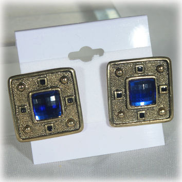 Blue Square Earrings, Pierced Earrings, Gold Earrings, Modern, Fashion Earrings, Vintage Bling