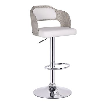Notviken White Leatherette Modern Bar Stool with Back