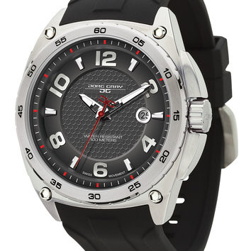Jorg Gray JG8400-11 Men's Watch Black Dial Integrated Black Rubber Strap