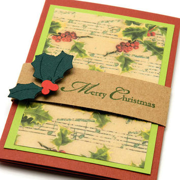 Gift Card Holder - Pop Up Card Holder - Christmas Card - Musical Holly - Gift Wrap Packaging - Credit Card Sleeve - Holiday Stationery