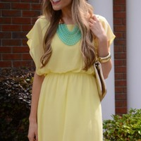 Flutter Sleeve Dress, Yellow