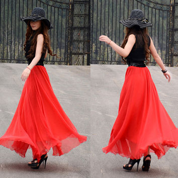women's Spanish red silk Chiffon 8 meters of skirt circumference  long dress maxi skirt qz02