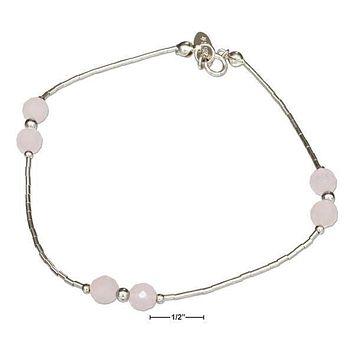 "Sterling Silver Bracelet:  9"" Liquid Silver And Rose Quartz Anklet"