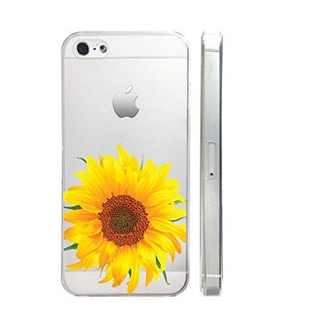 Sunflower Slim Iphone 5 5S Case, Clear Transparent Iphone 5 5S Hard Cover Case For Apple Iphone 5/5S -Emerishop