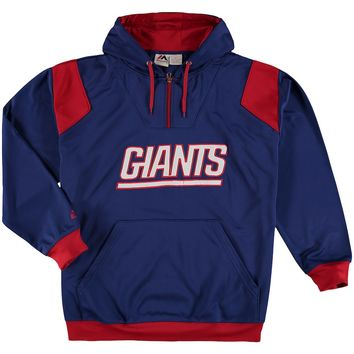 Men's New York Giants Majestic Royal Big & Tall 1/4-Zip Pullover Hoodie