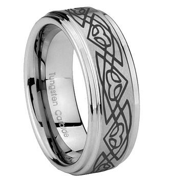 8mm Celtic Braided Step Edges Brushed Tungsten Carbide Mens Anniversary Ring