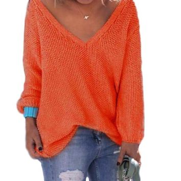 Woman's Rust Orange Wide V Neck Long Sleeve Sweater Top
