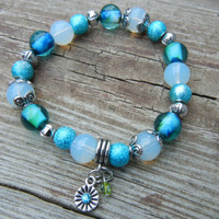 Beautifully Handcrafted Stretch Glass Bead Braclet with Charms